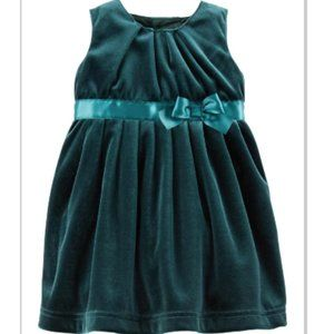 Carters Infant Girls Green Velvet Bow Party Dress